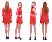 Two girls twins in red dresses isolated on the white — Stock Photo