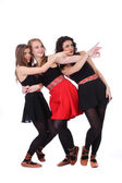 Teenage girls friends point the finger over white background — Foto de Stock