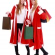 Christmas Shopping, Two girls twins wearing santa hat — Stock Photo