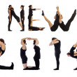Group of people forming the phrase 'Happy 2014 new year' — Stock fotografie