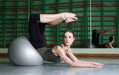 Woman Exercising With Exercise Ball — Stock Photo