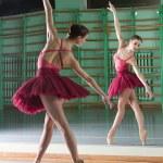 Балерина делает упражнения в классе балета — Стоковое фото