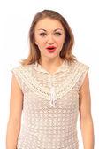 Portrait of  surprised beautiful woman — Stock Photo