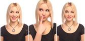 Set of three Portrait of emotional young woman — Stock Photo