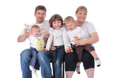Beautiful smiling happy family of five — Stok fotoğraf