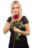 Woman with rose on white — Stock Photo