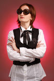 Young businesswoman with sunglasses — Stock Photo