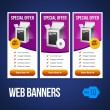 Special Offer Banner Set Vector Violet Purple 18: Showing Products Purchase Button — Stock Vector #11562588