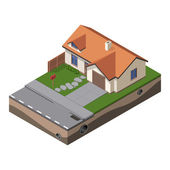 American Cottage, Small Wooden House For Real Estate Brochures Or Web Icon. With Yard, Green Grass, Road, Mailbox, Fence, Ground. Isometric — Stock Vector