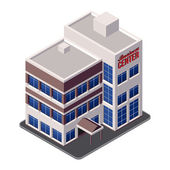 Business Center Building, Office, For Real Estate Brochures Or Web Icon. Isometric Vector EPS10 — Stock Vector