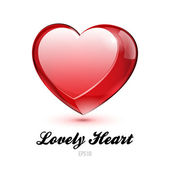 Red Glass Shiny Lovely Heart Valentine's Day Vector illustration Postcard Or Banner: EPS10 — Stock Vector