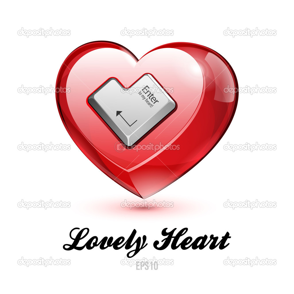 Red Glass Shiny Lovely Heart With Enter Button Valentine's Day Vector illustration Postcard Or Banner: EPS10 — Stock Vector #18689083