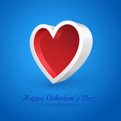 White 3D Plastic Heart Abstract Banner Box On Blue Background. Valentine's Day Illustration Postcard. Vector EPS10 — Stock Vector