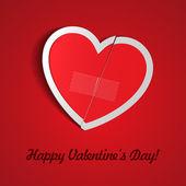 Red Cut Broken Heart Paper Sticker With Scotch Tape. Valentine's Day Vector Illustration Postcard EPS10 — Vecteur