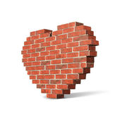 Valentine's Day Brick Wall Like Heart Isolated On White Background. Vector EPS10 — Stock Vector