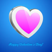 White Pink Heart Like Glossy Pad Or Mobile Phone Talk Cloud On Blue Background. Futuristic Device Abstract Technology Banner. Web Design Elements. Valentine's Day Illustration Postcard. Vector — 图库矢量图片