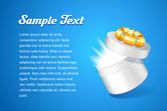 Technology Postcard Design Template With Opened White Round Gift Box With Golden Ribbon Bow, On Blue Background — 图库矢量图片