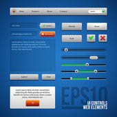 Colored UI Controls Web Elements, Blue, Gray, Red, Green: Buttons, Comments, Sliders, Message Box — Stock Vector