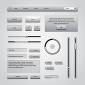 Light Gray UI Controls Web Elements 2: Buttons, Comments, Sliders, Message Box, Preloader, Loader, Tag Labels, Unlock — Stock Vector