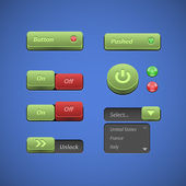 Raised Buttons Green And Red UI Controls Web Elements: Buttons, Switchers, On, Off, Player, Audio, Video: Play, Stop, Next, Pause, Arrows — Stock Vector
