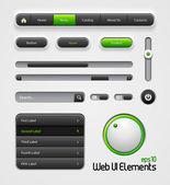 Web UI Elements Design Gray Green: Navigation Bar, Menu, Slider, Scroller, Equalizer, Volume, Button, Power, On, Off, Search, Website Elements — Stock Vector