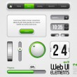 Web UI Elements Design Gray Green: Part 2 — Stock Vector