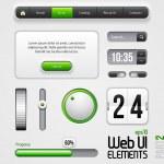 Web UI Elements Design Gray Green: Part 2 — Stock Vector