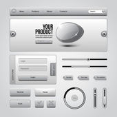 Light Gray UI Controls Web Elements 3: Buttons, Login Form, Authorization, Sliders, Banner, Box, Preloader, Loader, Tag Labels — Stock Vector