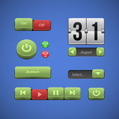 Raised Buttons Green And Red UI Controls Web Elements: Buttons, Switchers, On, Off, Player, Audio, Video: Play, Stop, Next, Pause, Arrows, Calendar, Date — Stock Vector