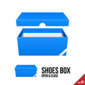 Blue Cardboard Shoes Box Carton Package Open With Lid. Ready For Your Design. Product Packing Vector EPS10 — Cтоковый вектор