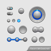 Smart UI Controls Web Elements 1: Buttons, Switchers, On, Off, Player, Audio, Video: Player, Volume, Equalizer, Bulb, Preloader, Loader, Power Button — Stock Vector