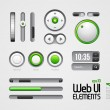 Stock Vector: Web UI Elements Design Gray Green: Part 4