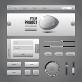 Gray UI Controls Web Elements 3: Buttons, Login Form, Authorization, Sliders, Banner, Box, Preloader, Loader, Tag Labels — Stock Vector