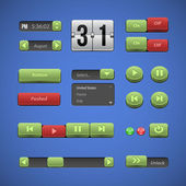 Raised Buttons Green And Red UI Controls Web Elements: Buttons, Switchers, On, Off, Drop Down List, Arrows, Calendar, Date, Time, Clock, Power, Scroller, Player, Audio, Video: Play, Stop, Next, Pause — Stock Vector