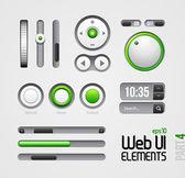 Web UI Elements Design Gray Green: Part 4 — Stock Vector