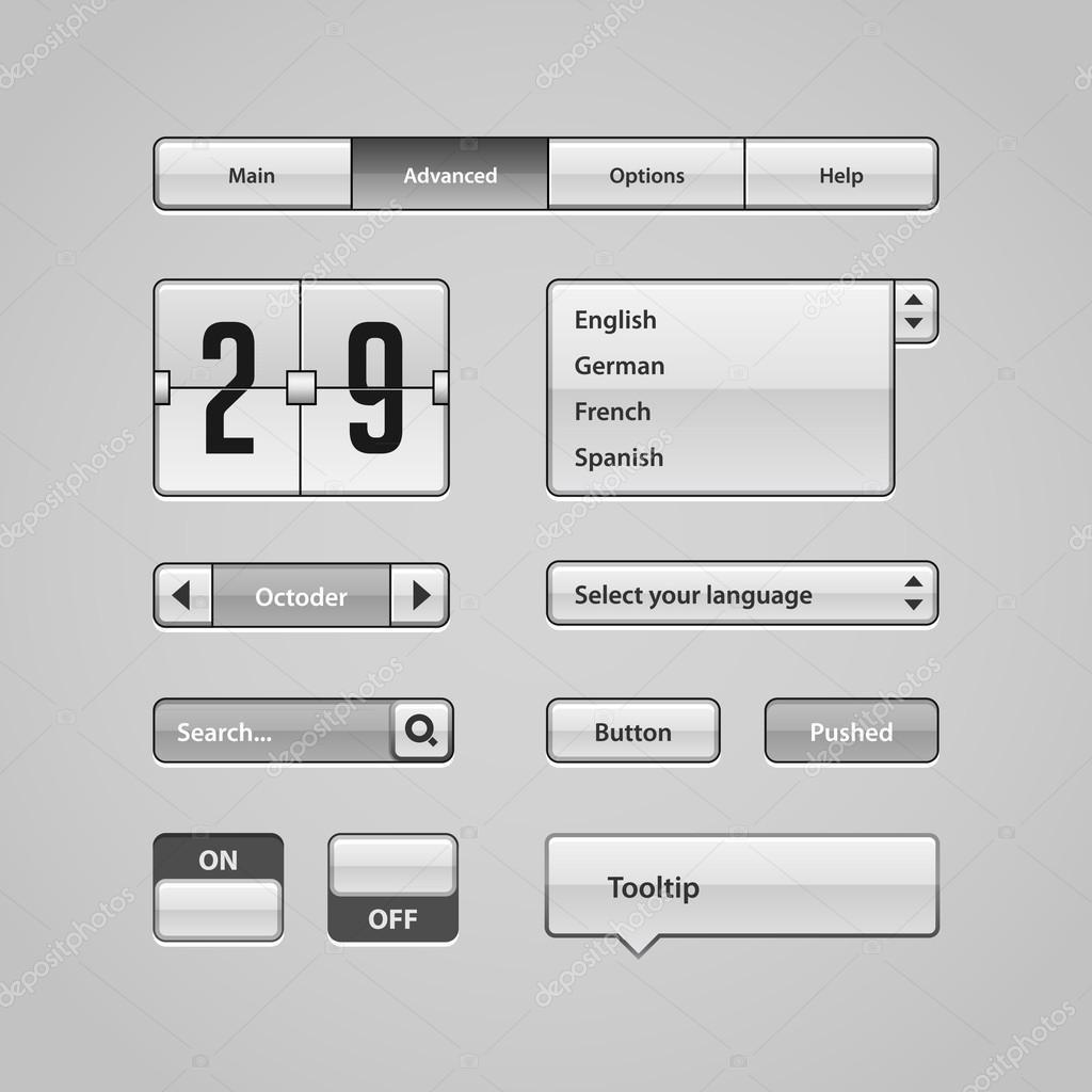 网站,软件用户界面: 按钮,切换器, 箭头, 下拉, 导航栏, 菜单, 工具