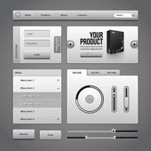 Gray UI Controls Web Elements 4: Buttons, Login Form, Authorization, Sliders, Banner, Box, Preloader, Loader, Accordion, Menu, Tabs, Search — Stock Vector