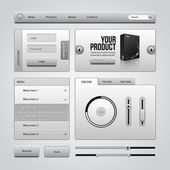 Light Gray UI Controls Web Elements 4: Buttons, Login Form, Authorization, Sliders, Banner, Box, Preloader, Loader, Accordion, Menu, Tabs, Search — Stock Vector