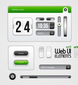 Web UI Elements Design Gray Green: Part 5 — Vector de stock