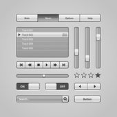 Clean Light User Interface Controls 6. Web Elements. Website, Software UI: Buttons, Switchers, Arrows, Drop-down, Navigation Bar, Menu, Search, Equalizer, Mixer, Levels, Play List, Player, Progress — Stock Vector