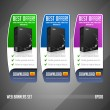 Modern Best Offer Web Banner Set Vector Colored: Green, Blue, Violet, Purple. Website Showing Product Box, Purchase Download Button. — Stock Vector