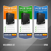 Modern Special Offer Web Banner Set Vector Colored: Yellow, Orange, Green, Blue. Website Showing Product Box, Purchase Download Button. — Stock Vector