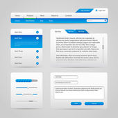 Web UI Controls Elements Gray And Blue On Light Background 4: Navigation Bar, Buttons, Slider, Message Box, Menu, Tabs, Input Text Area, Search, Scroll, Progress Bar, Accordion — Stock Vector