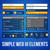 Simple UI Elements Blue Yellow. White Smartphone 480x800. Login Form, Button, Switchers, Radio Button, Slider, Drop-Down Box, Search, Icons. Web Design Elements. Software. Vector User Interface EPS10 — Stock Vector