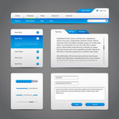 Web UI Controls Elements Gray And Blue On Dark Background 3: Navigation Bar, Buttons, Slider, Message Box, Menu, Tabs, Login, Search, Menu, Scroll, Progress Bar, Accordion — Stock Vector