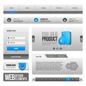 Modern Clean Website Design Elements Grey Blue Gray: Buttons, Form, Slider, Scroll, Carousel, Icons, Tab, Menu, Navigation Bar, Download, Pagination — Stock Vector