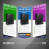 Modern Special Offer Web Banner Set Vector Colored: Green, Blue, Violet, Purple. Website Showing Product Box, Purchase Download Button. — Stock Vector