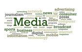 Chmura słowo media — Zdjęcie stockowe