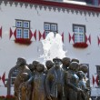 Ratsbrunnen Fountain in front of the Town Hall in Linz am Rhein - Stock Photo