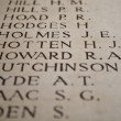 Names on Menin Gate in Ypres, Belgium — Stock Photo #12892906